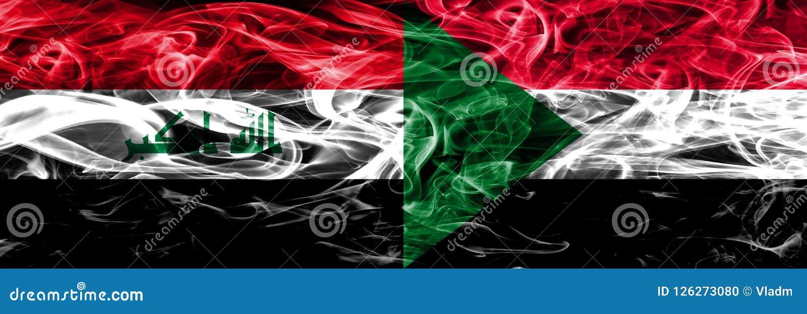 Iraq contra las banderas coloridas del humo del concepto de Sudán colocadas de lado a lado Ilustración del Vector