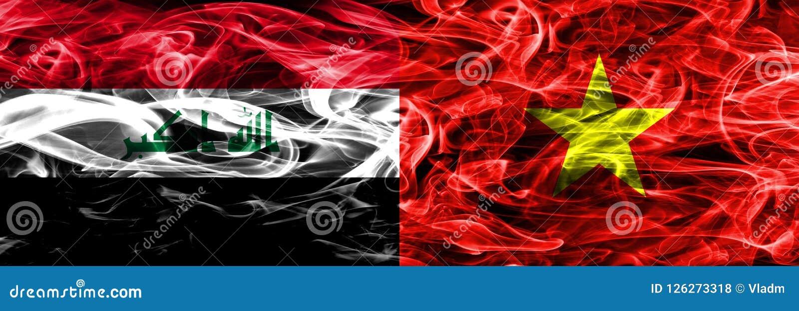 Iraq contra las banderas coloridas del humo del concepto de Vietnam colocadas de lado a lado Libre Illustration