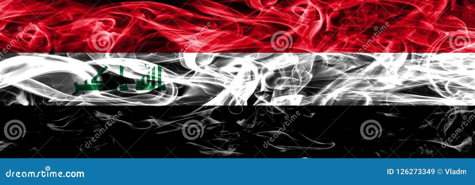 Iraq contra las banderas coloridas del humo del concepto de Yemen colocadas de lado a lado Stock de ilustración