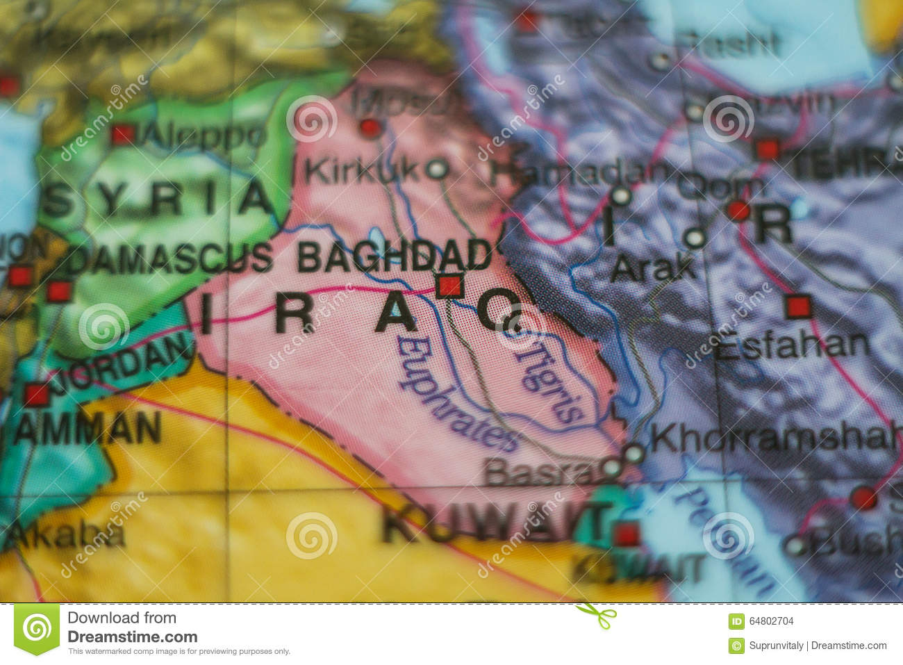 Iraq country on map stock photo image of holiday organize 64802704 iraq country on map gumiabroncs Images
