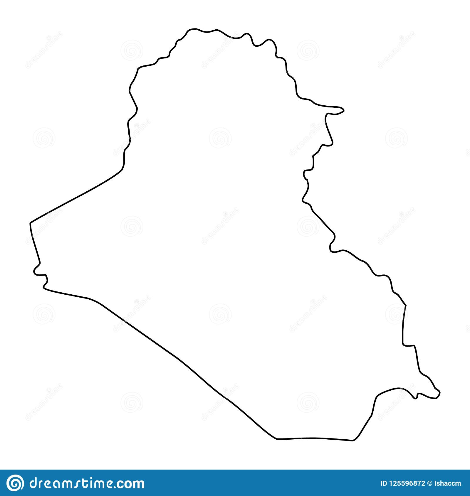Iraq Map Outline Vector Illustration Stock Vector - Illustration of