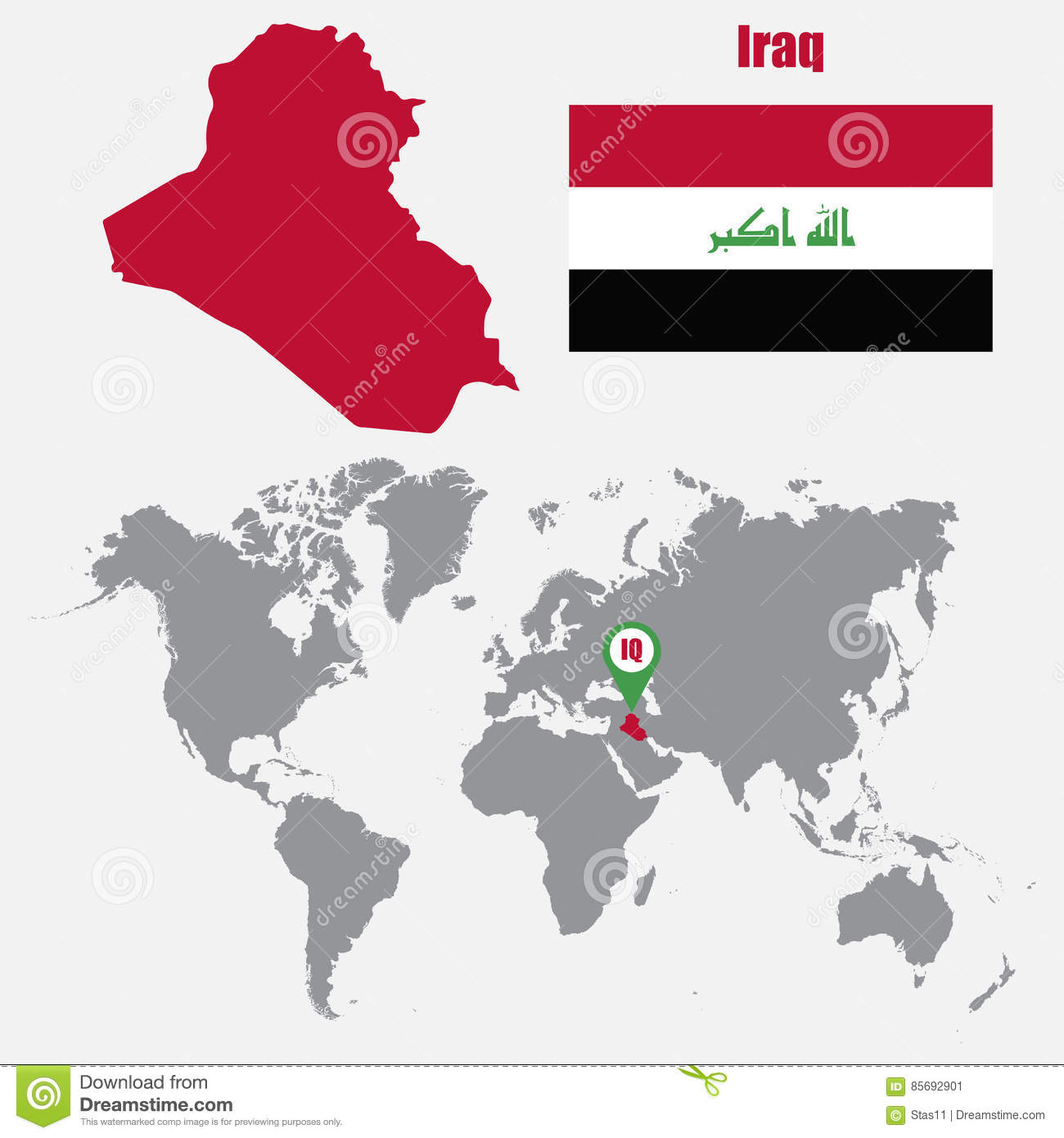 Iraq Map On A World Map With Flag And Map Pointer. Vector ...