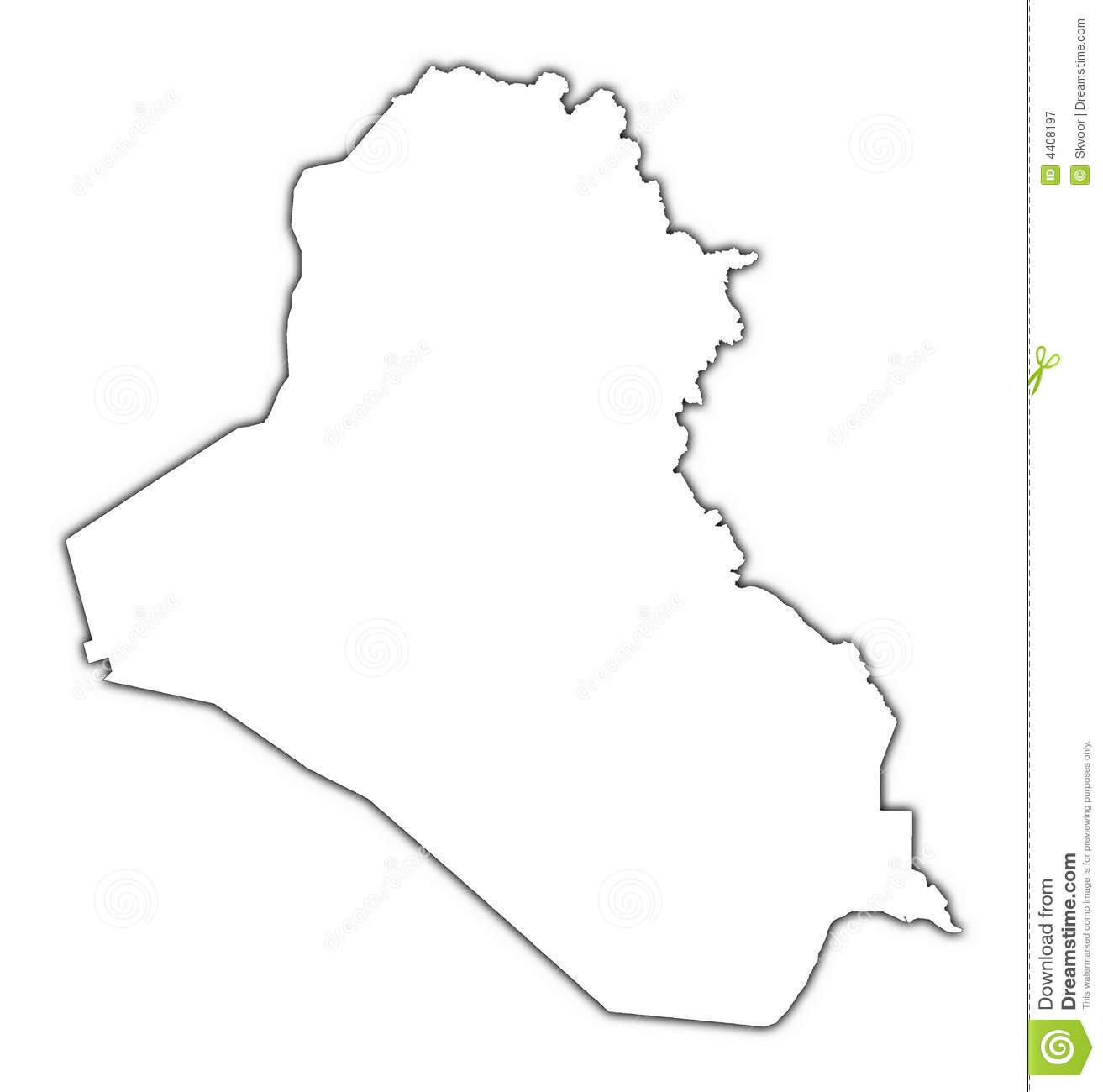Iraq outline map stock illustration  Illustration of black - 4408197