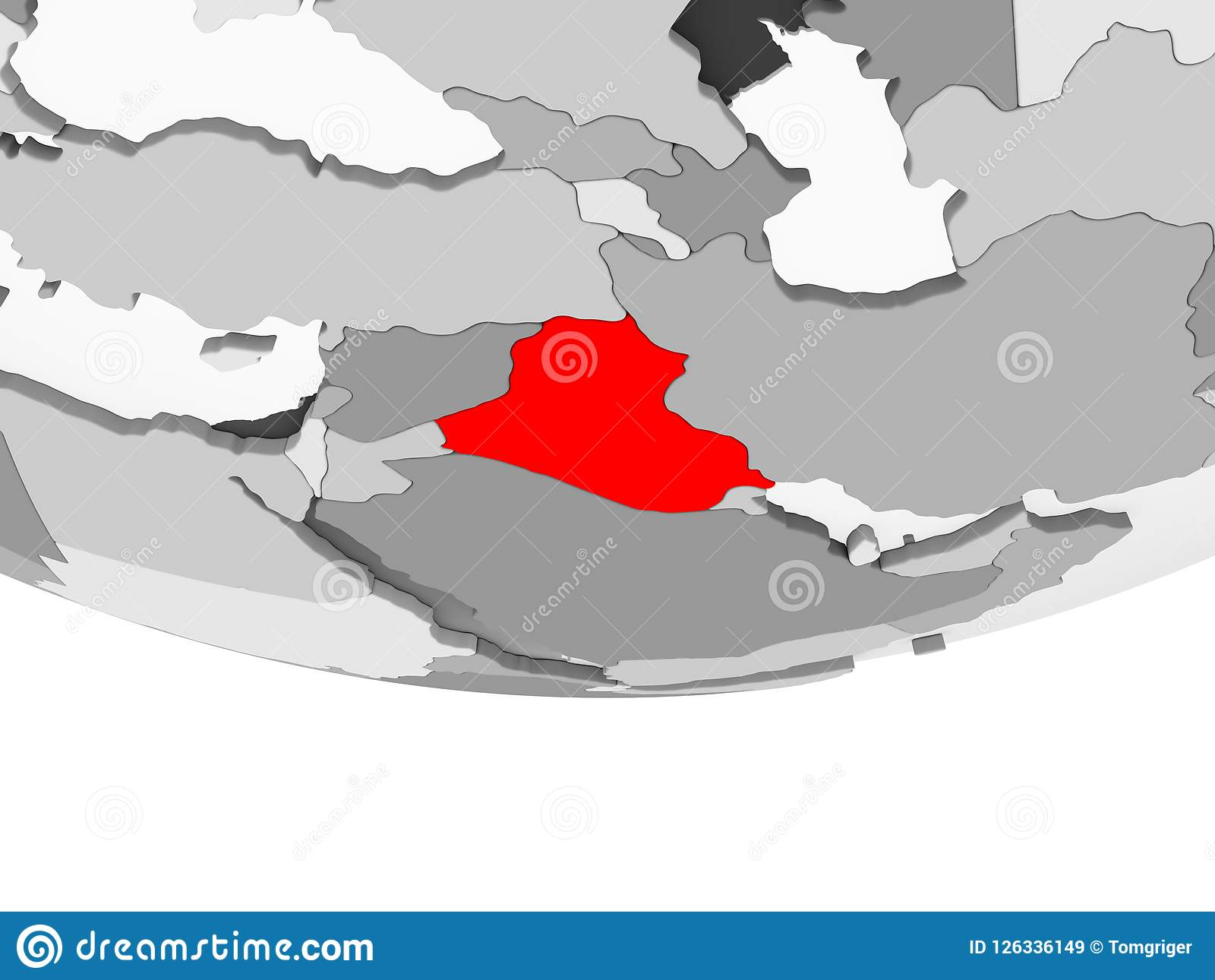 Map Of Iraq On Grey Political Globe Stock Illustration ...