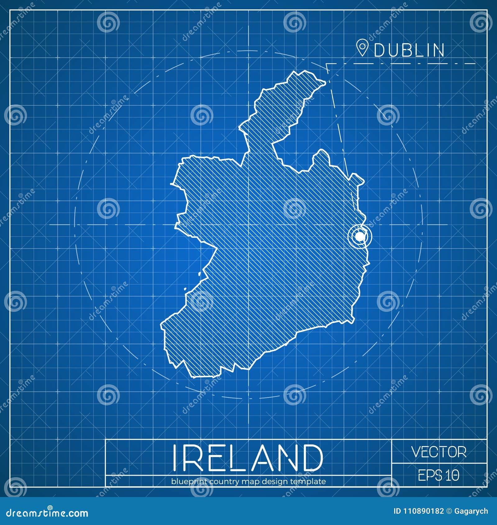 Ireland Blueprint Map Template With Capital City Stock Vector