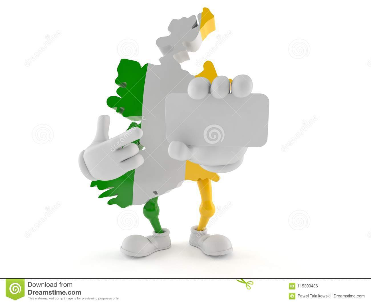 Ireland character holding blank business card stock illustration ireland character holding blank business card royalty free illustration reheart Gallery