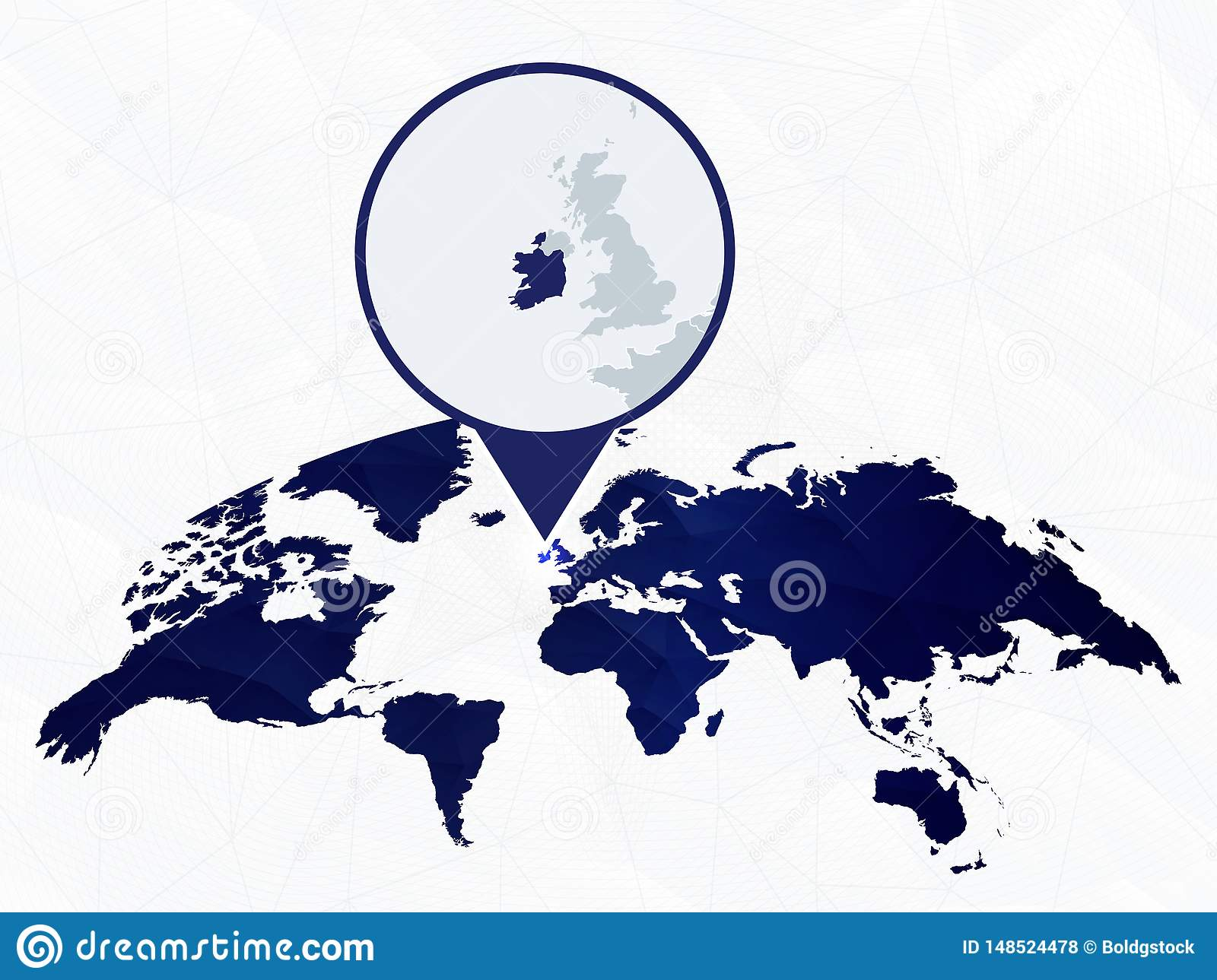 Ireland Detailed Map Highlighted On Blue Rounded World Map ...