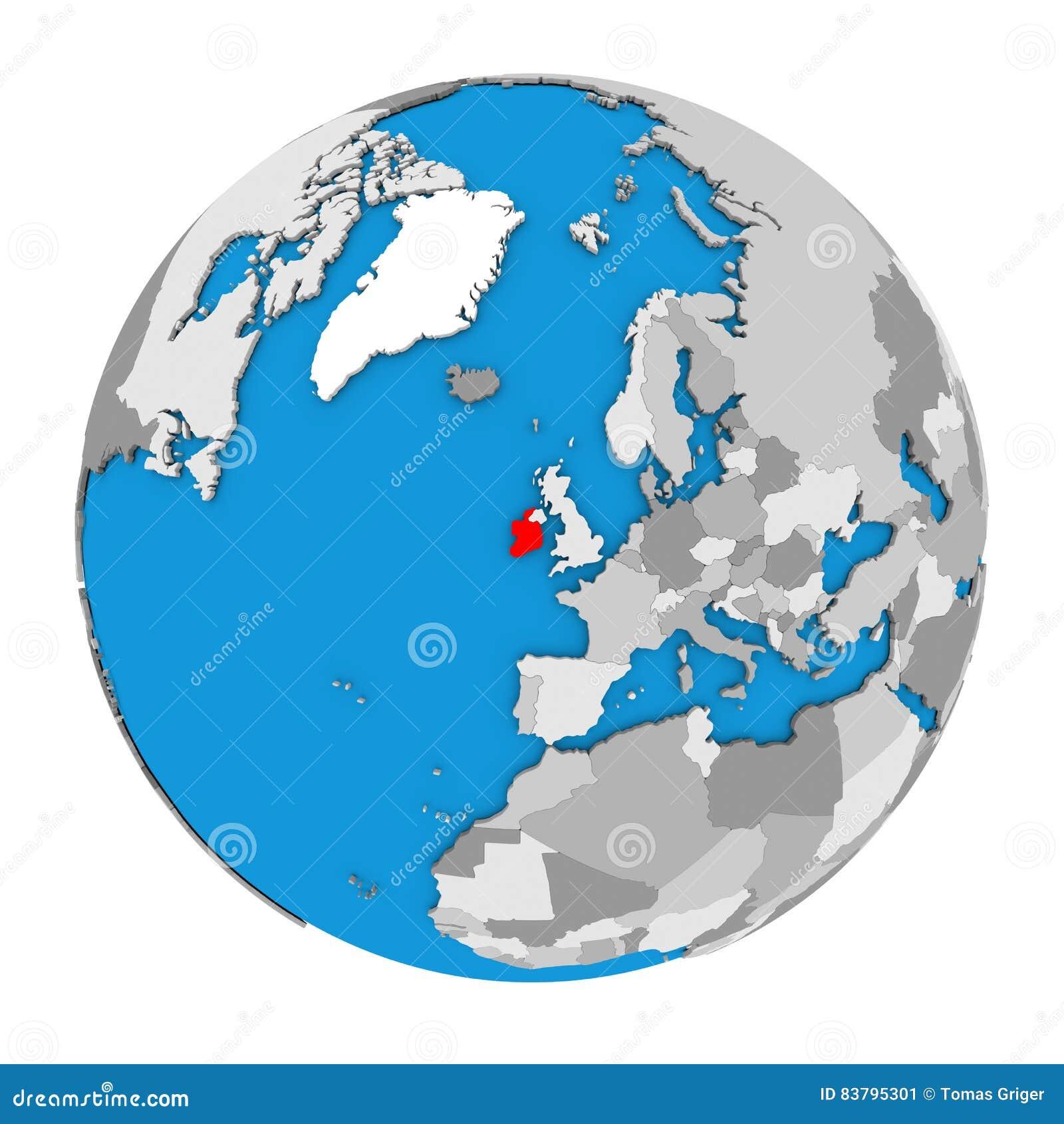 Map Of Ireland In The World.Ireland On Globe Stock Illustration Illustration Of Isolated 83795301