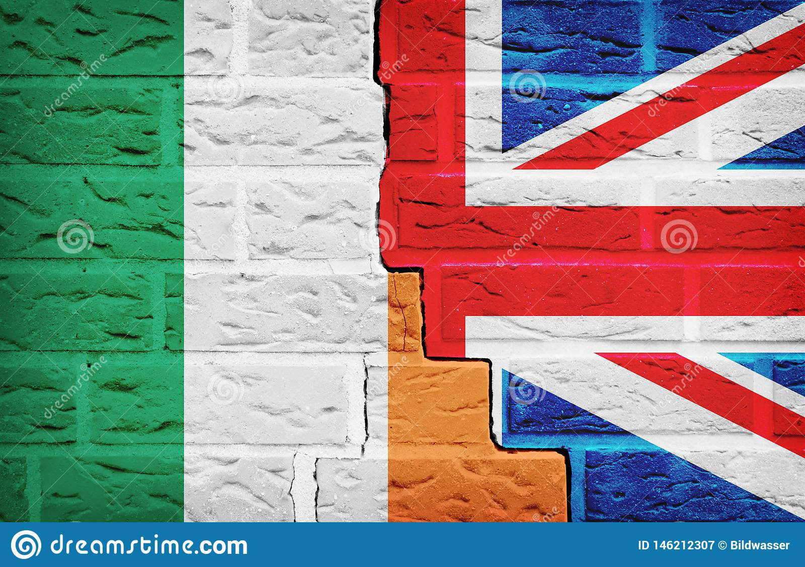 Ireland and Great Britain Flag on broken Wall