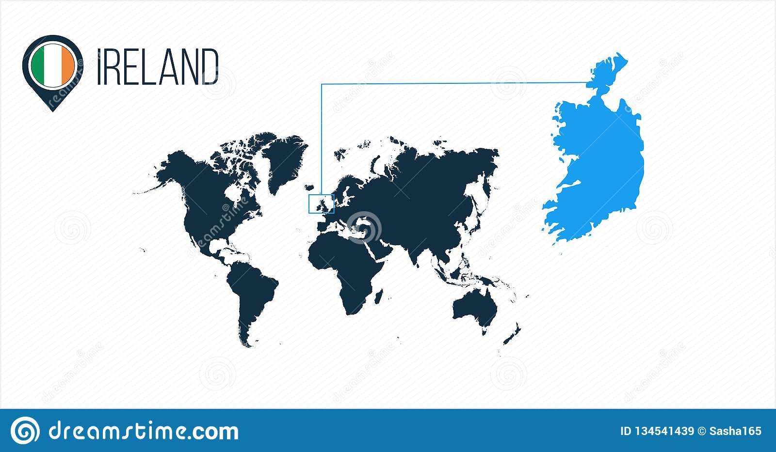 Ireland Location Modern Vector Map For Infographics. All World ...