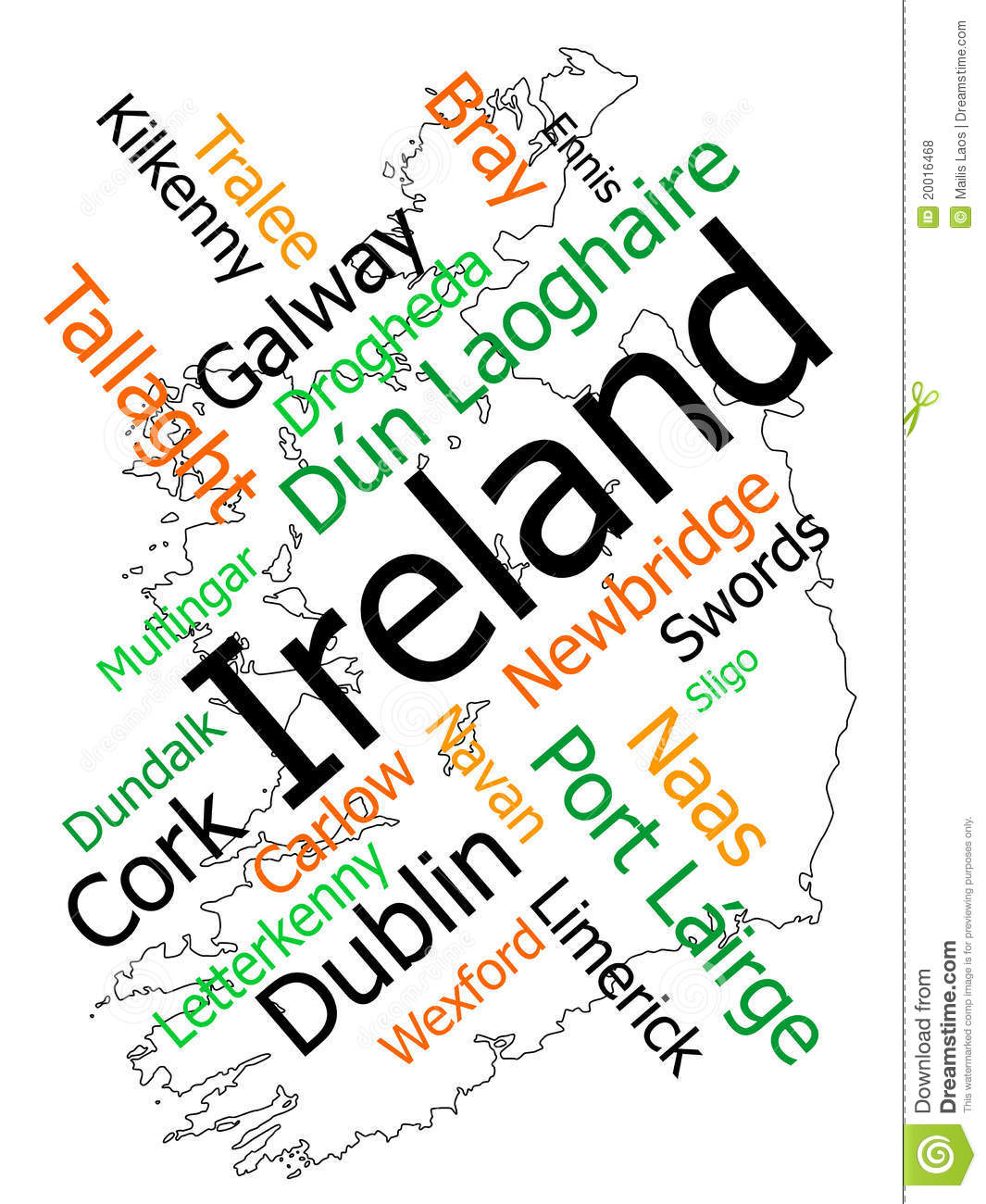 Cities In Ireland Map.Ireland Map And Cities Stock Vector Illustration Of Politics 20016468