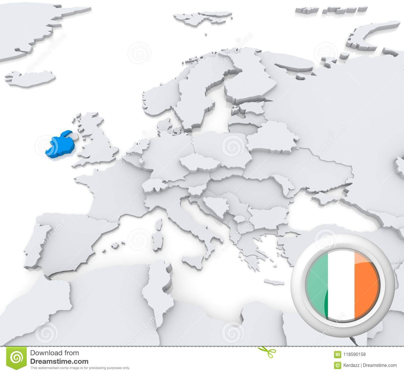 Ireland On Map Of Europe Stock Illustration Illustration Of Atlas