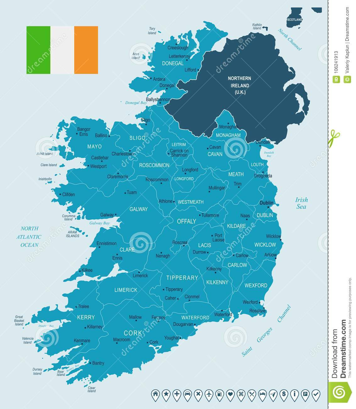 Cities In Ireland Map.Ireland Map And Flag Detailed Vector Illustration Stock