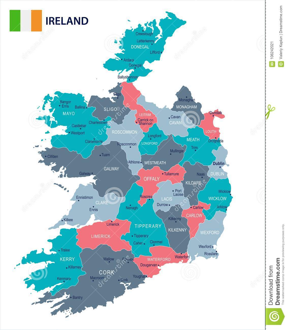 Detailed Map Of Ireland.Ireland Map And Flag Detailed Vector Illustration Stock