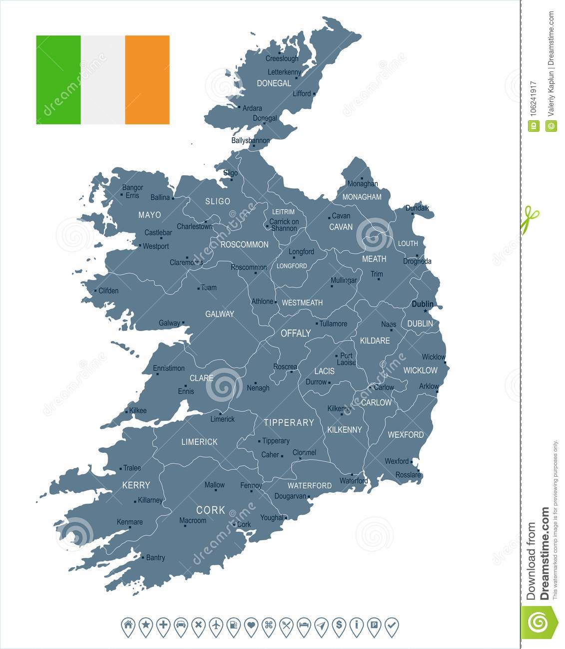 Ireland Map And Flag Detailed Vector Illustration Stock