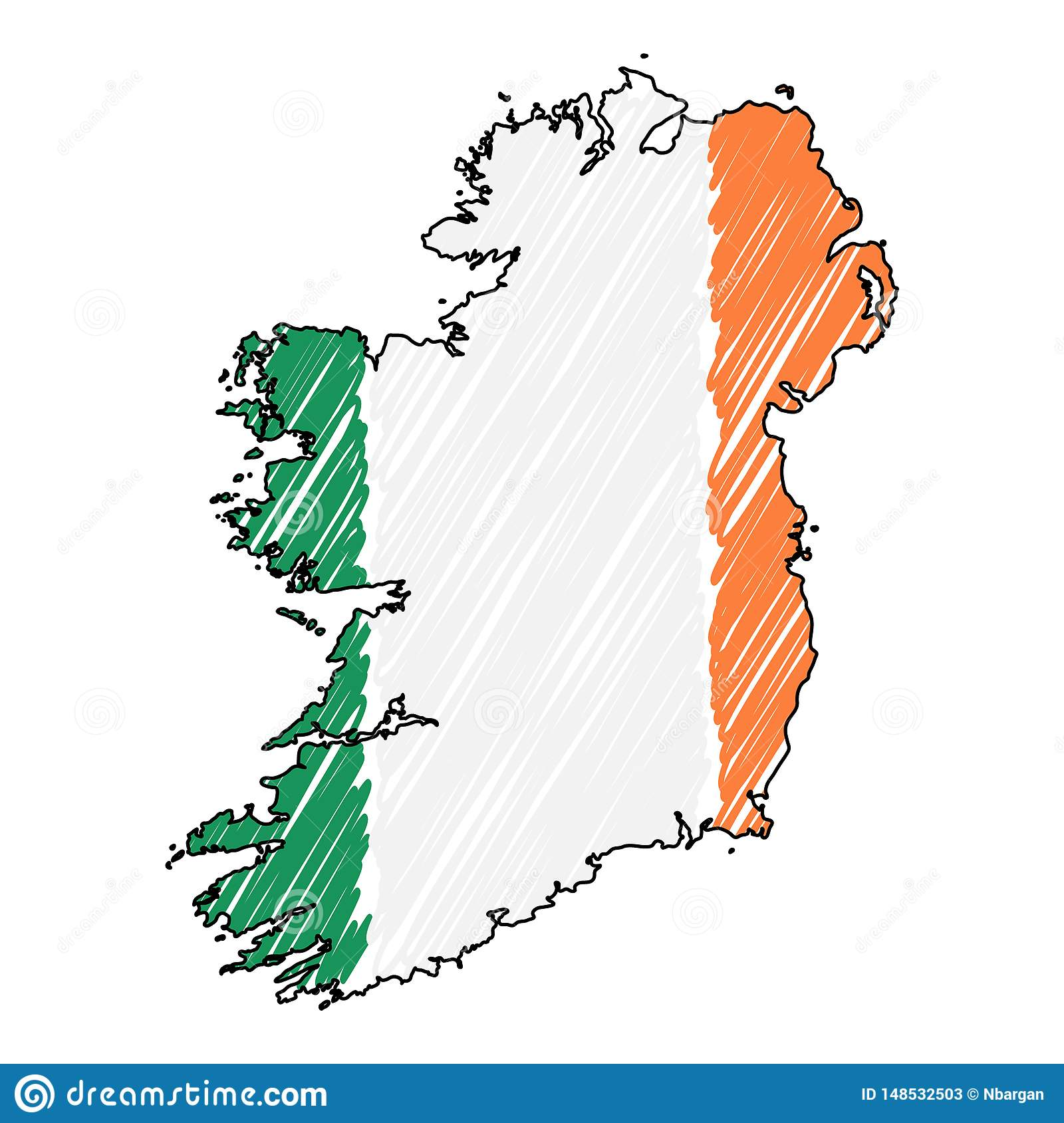 Map Of Ireland Drawing.Ireland Map Hand Drawn Sketch Vector Concept Illustration Flag