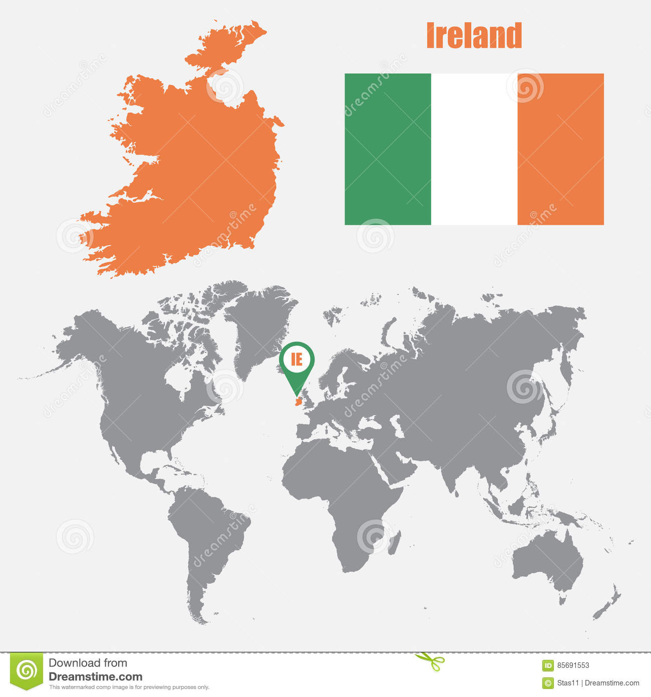 Ireland map on a world map with flag and map pointer vector download comp gumiabroncs Image collections