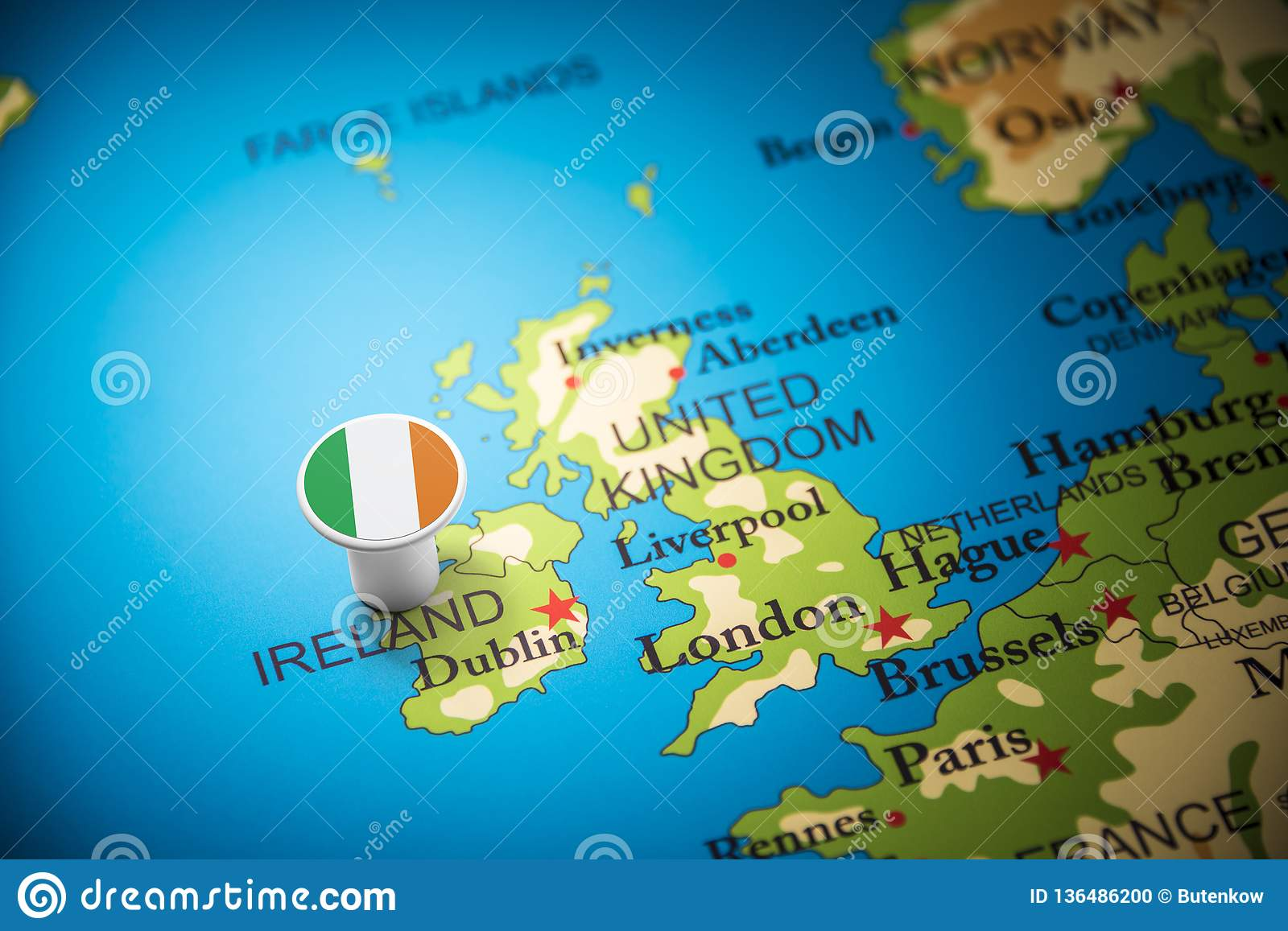 Ireland Marked With A Flag On The Map Stock Photo - Image of ...