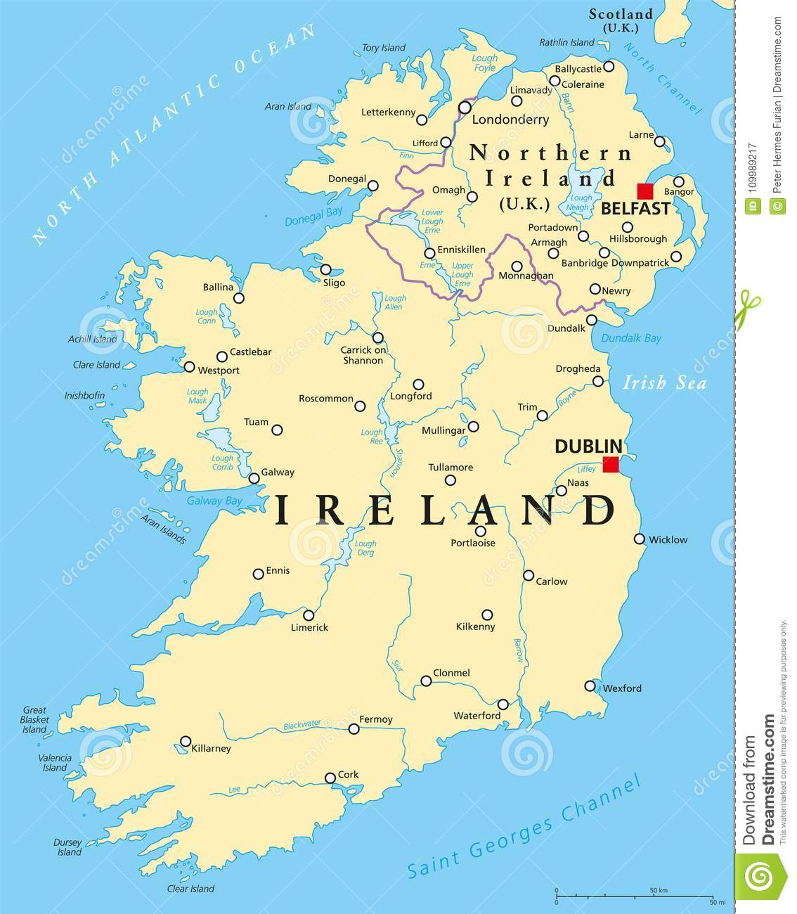 Ireland And Northern Ireland Political Map Stock Vector ...