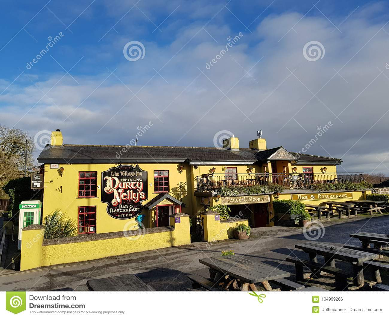 Ireland - Nov 30th 2017: Beautiful view of Ireland`s most famous Castle and Irish Pub in County Clare.
