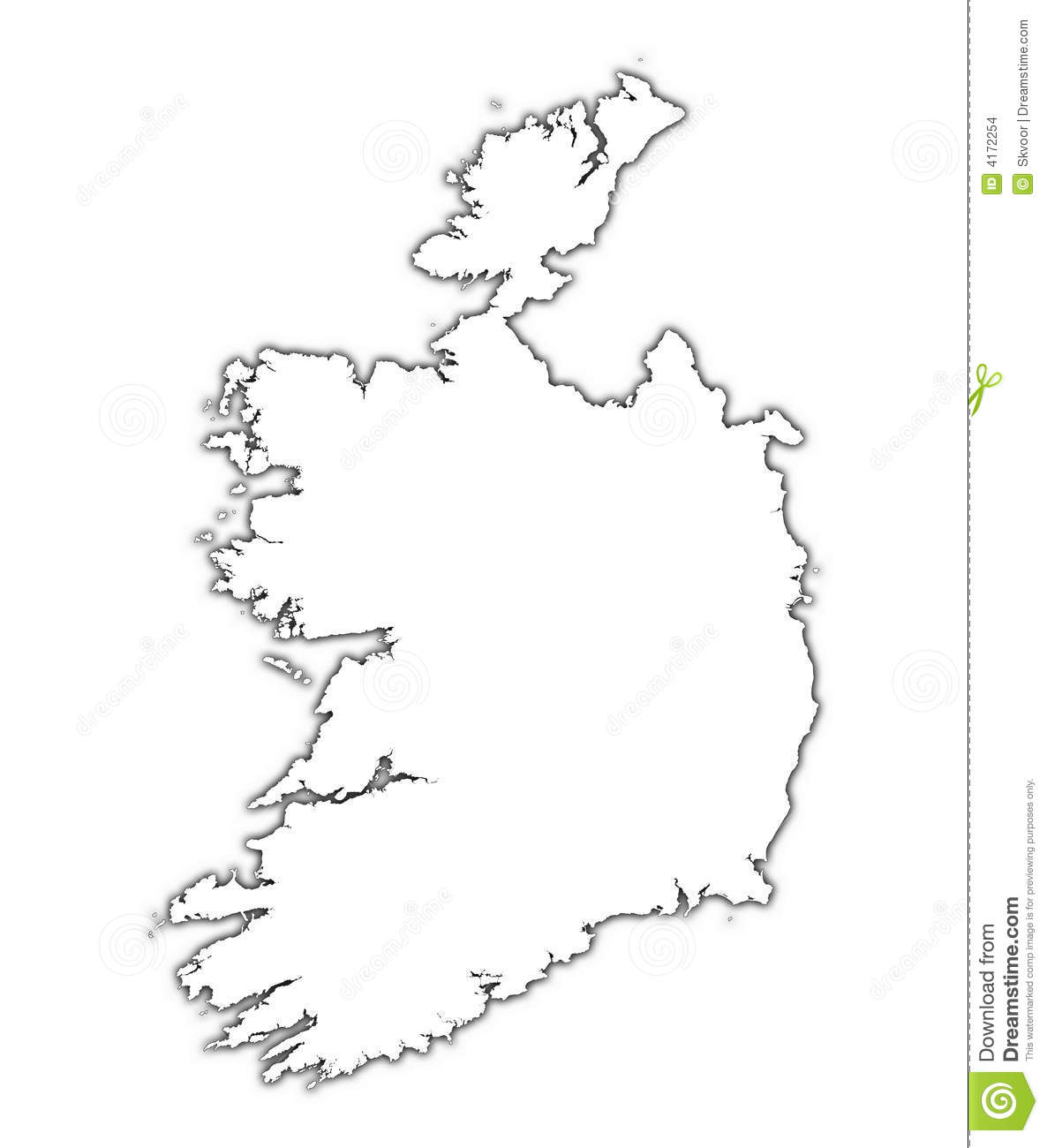ireland outline map with shadow stock images