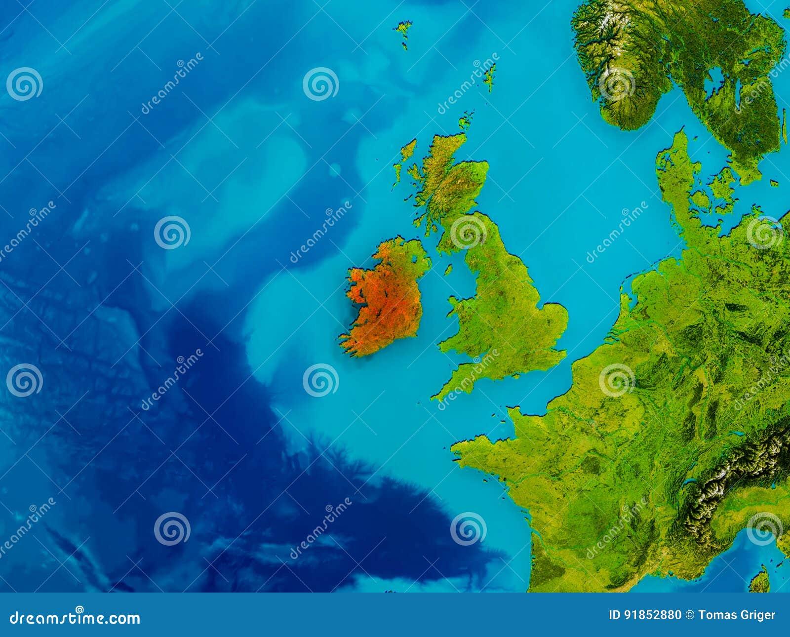 Physical Map Of Ireland.Ireland On Physical Map Stock Illustration Illustration Of Globe