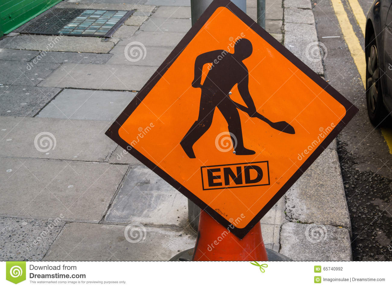 ireland road work sign end