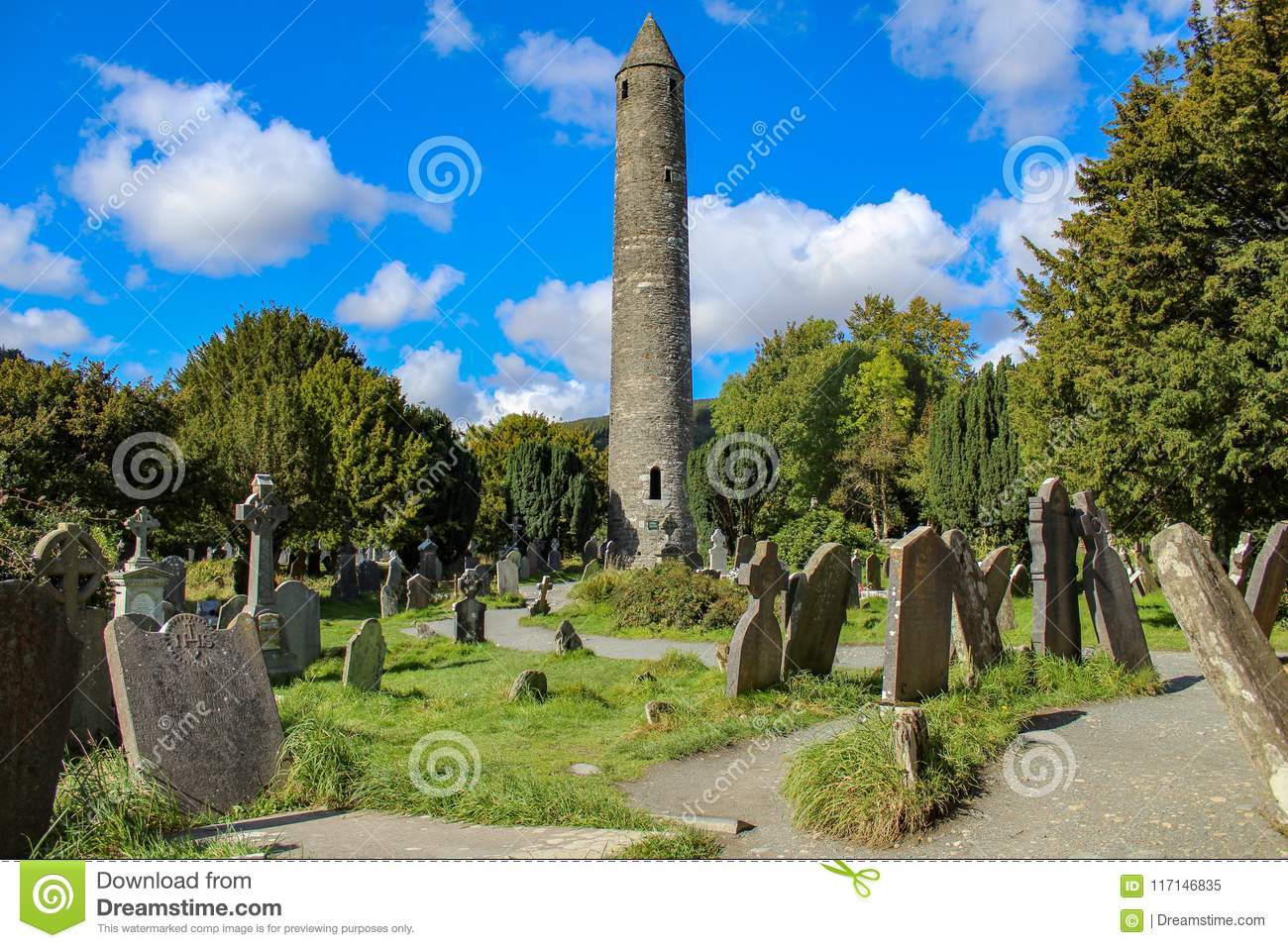 Tower and tombstones at Glendalough.