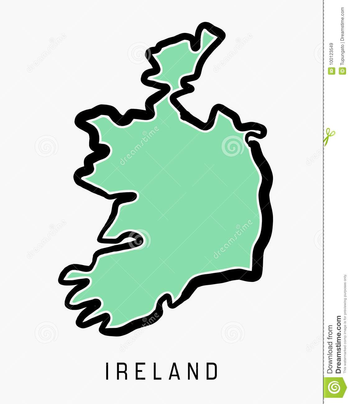 Outline Map Of Ireland.Ireland Simple Map Stock Vector Illustration Of Silhouette 100123549