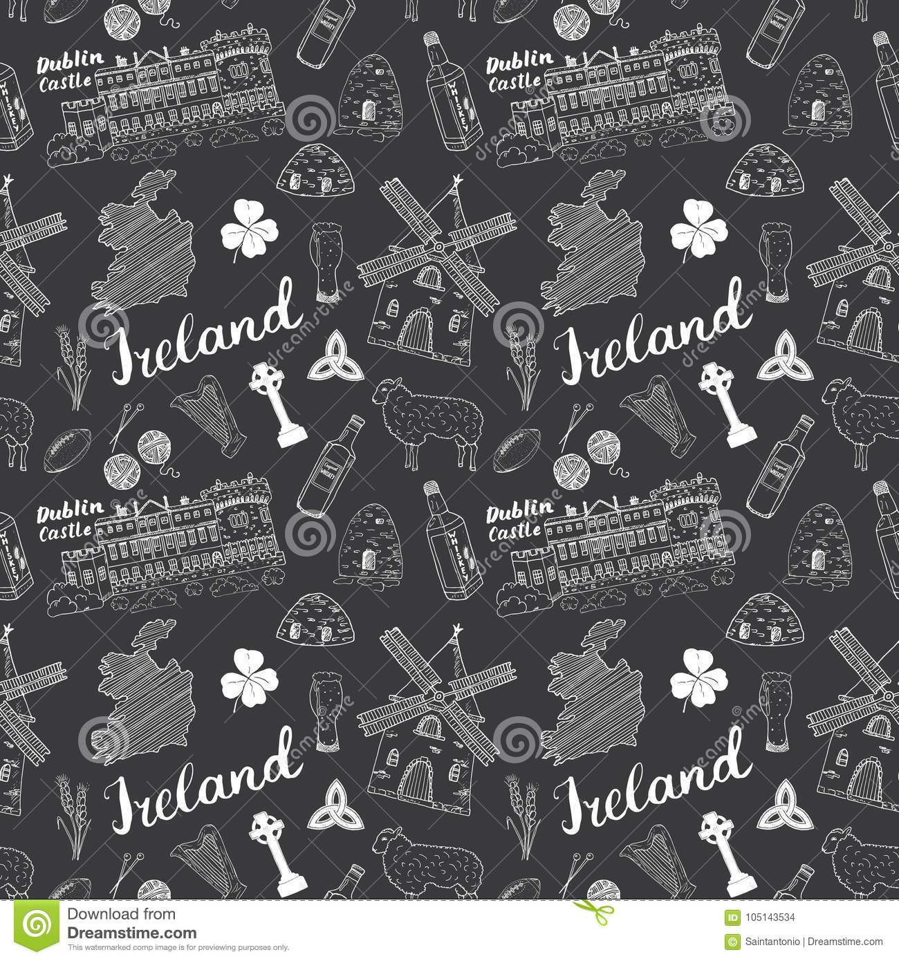 Sketch Map Of Ireland.Ireland Sketch Doodles Seamless Pattern Irish Elements With Flag