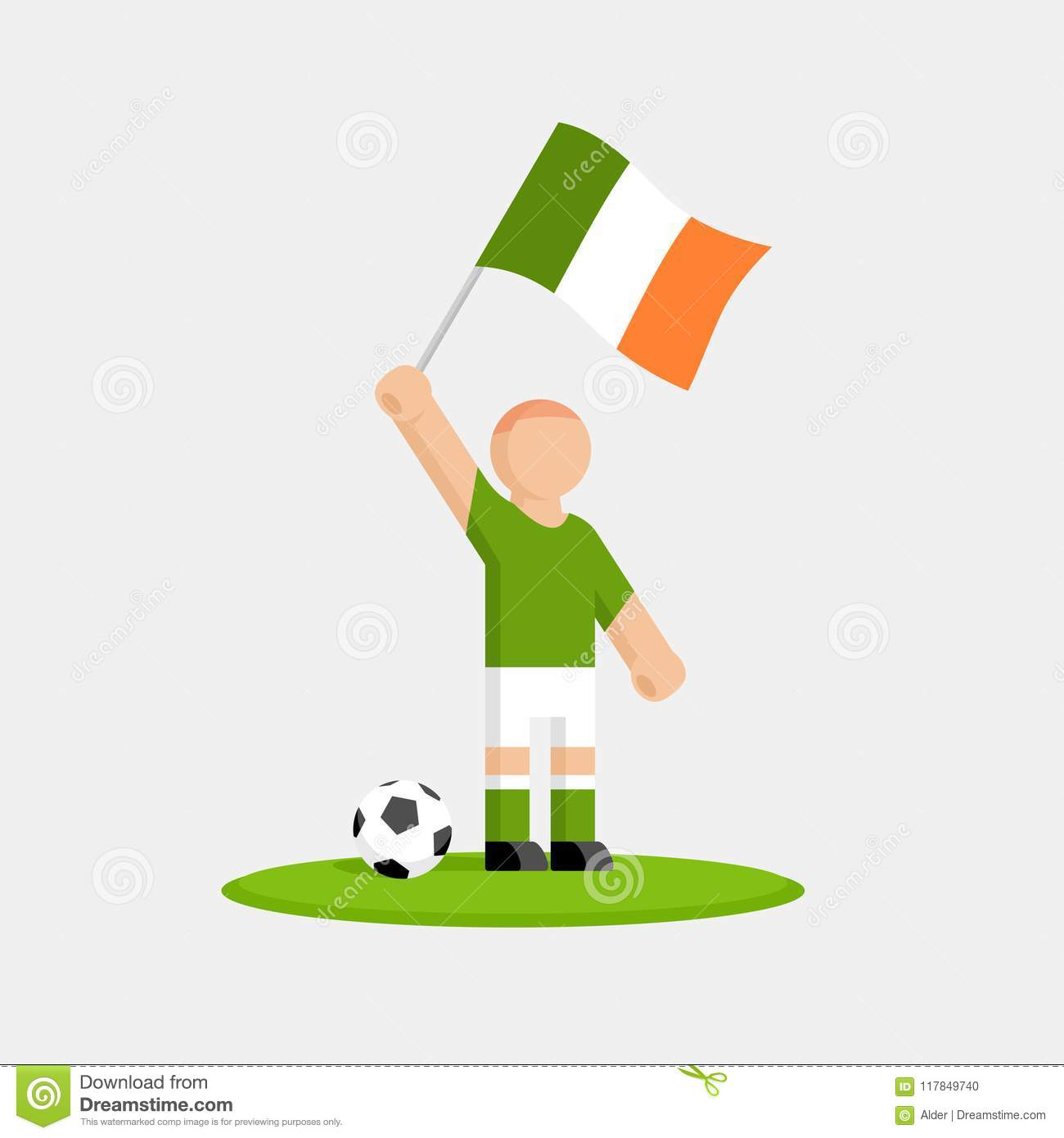 d2035fc38 Ireland Soccer Player In Kit With Flag And Ball Stock Vector ...