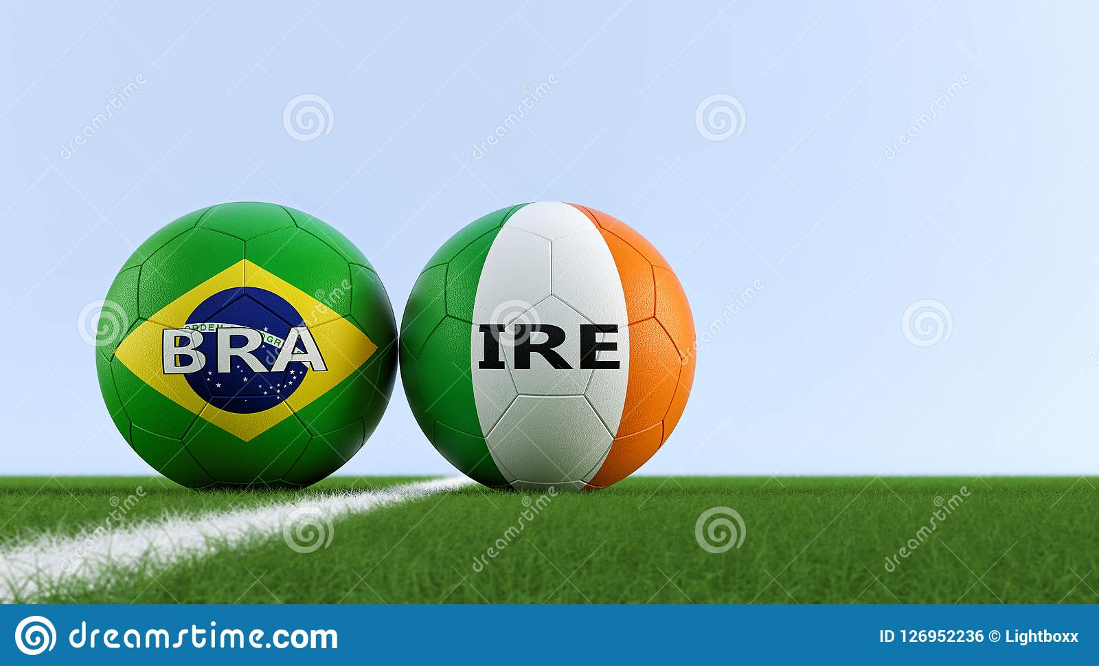 33868f86a Brazil Soccer Match - Soccer balls in Ireland and Brazil national colors on