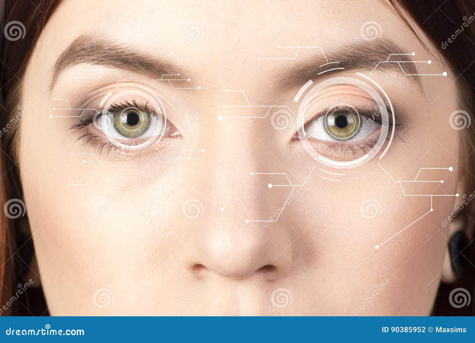 Iride di sicurezza o analizzatore della retina che è usando su un macro occhio umano intenso, con la tavolozza limitata