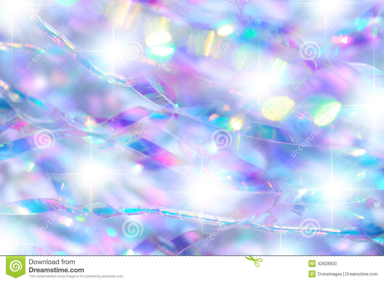 Close-up of decorative iridescent scatter with diffused bright stars.