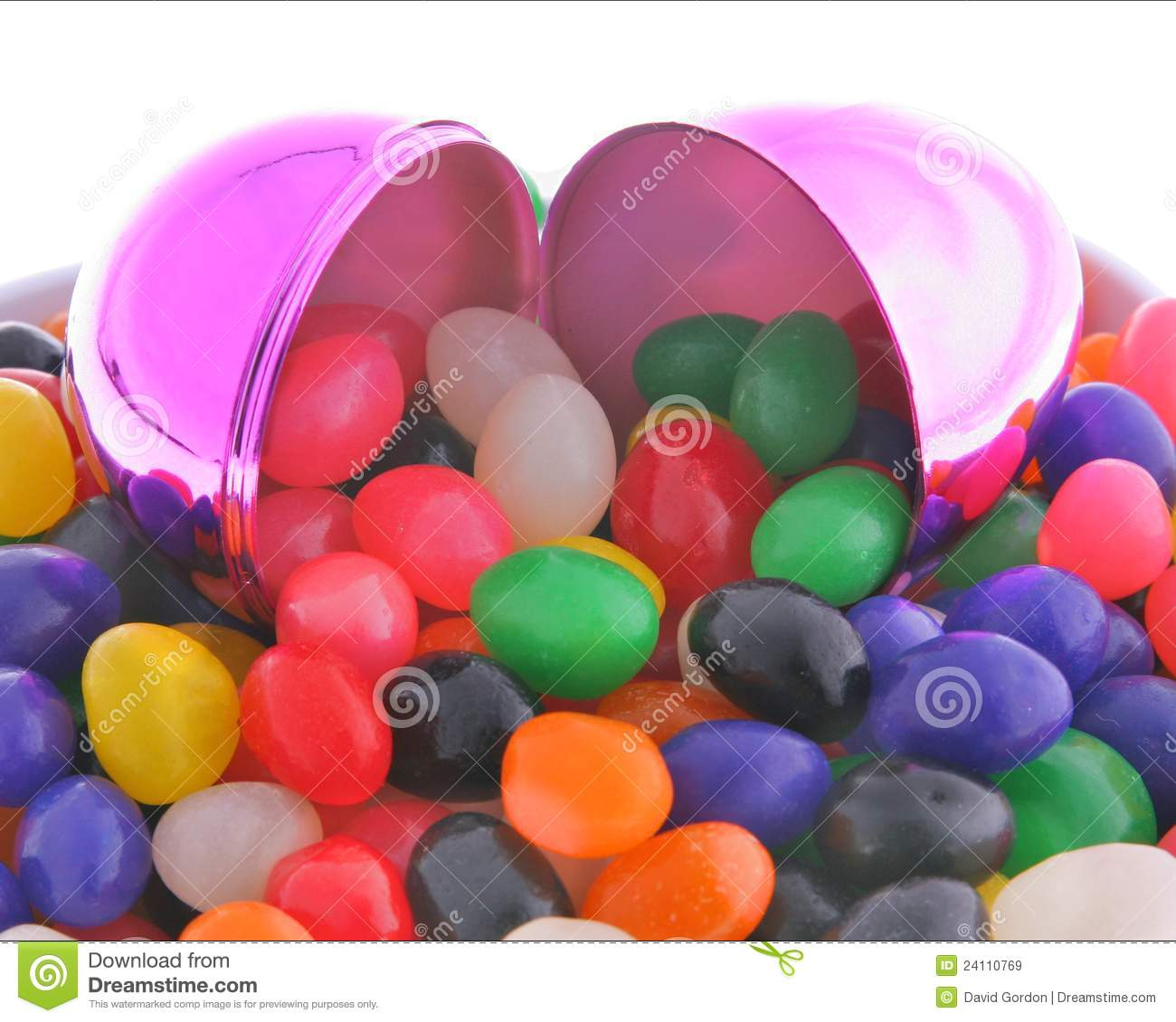Iridescent Easter Egg And Jelly Beans Stock Image - Image of bean