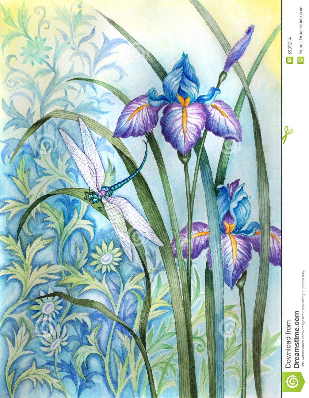 Iris flower and a dragonfly stock illustration illustration of iris flower and a dragonfly izmirmasajfo Choice Image