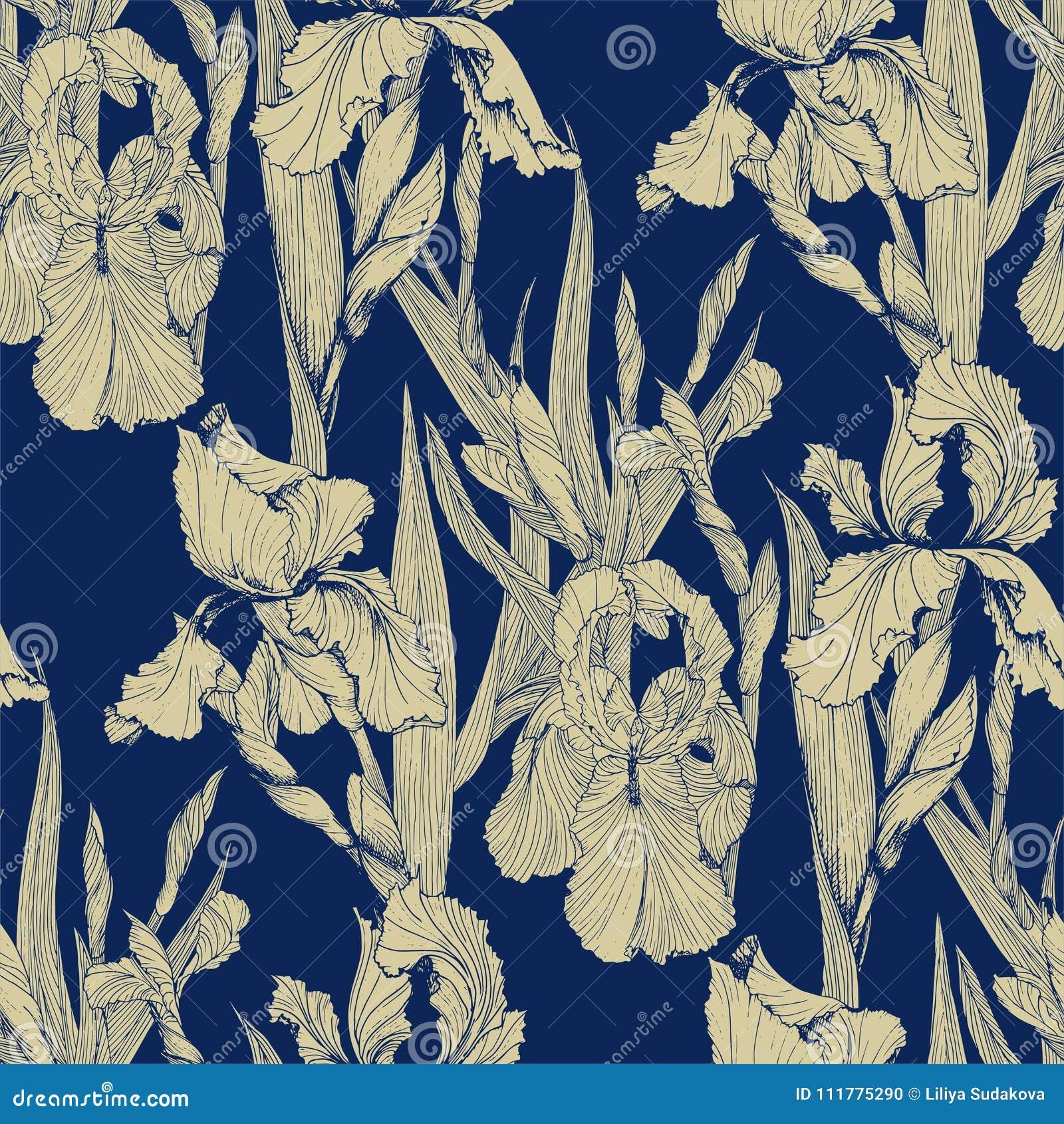 Irises flowers vector seamless pattern