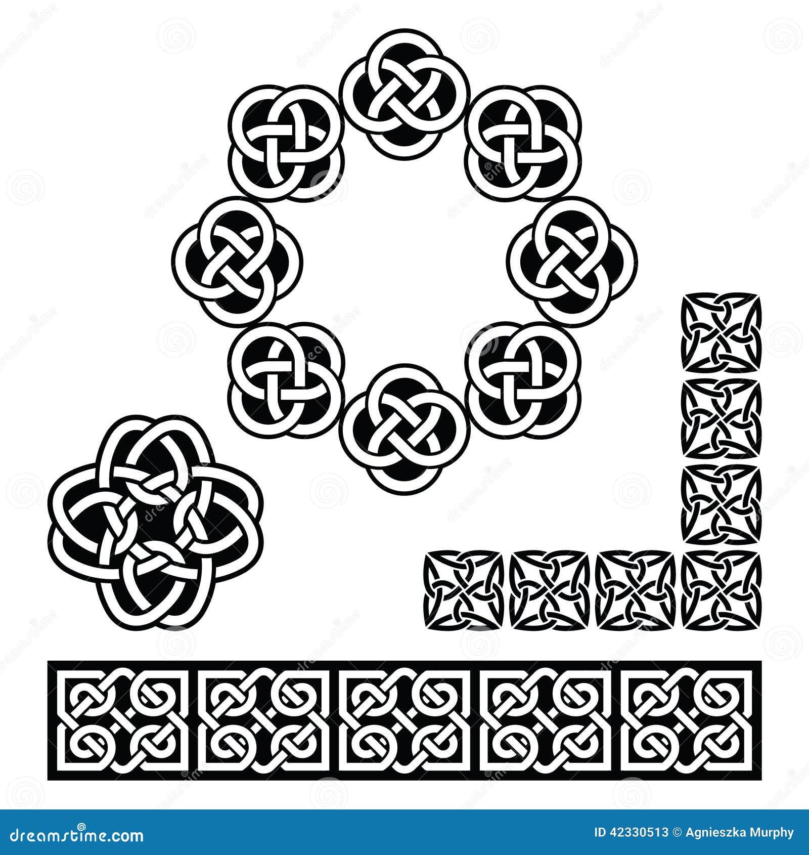 Irish Celtic Design Patterns Knots And Braids Stock Illustration