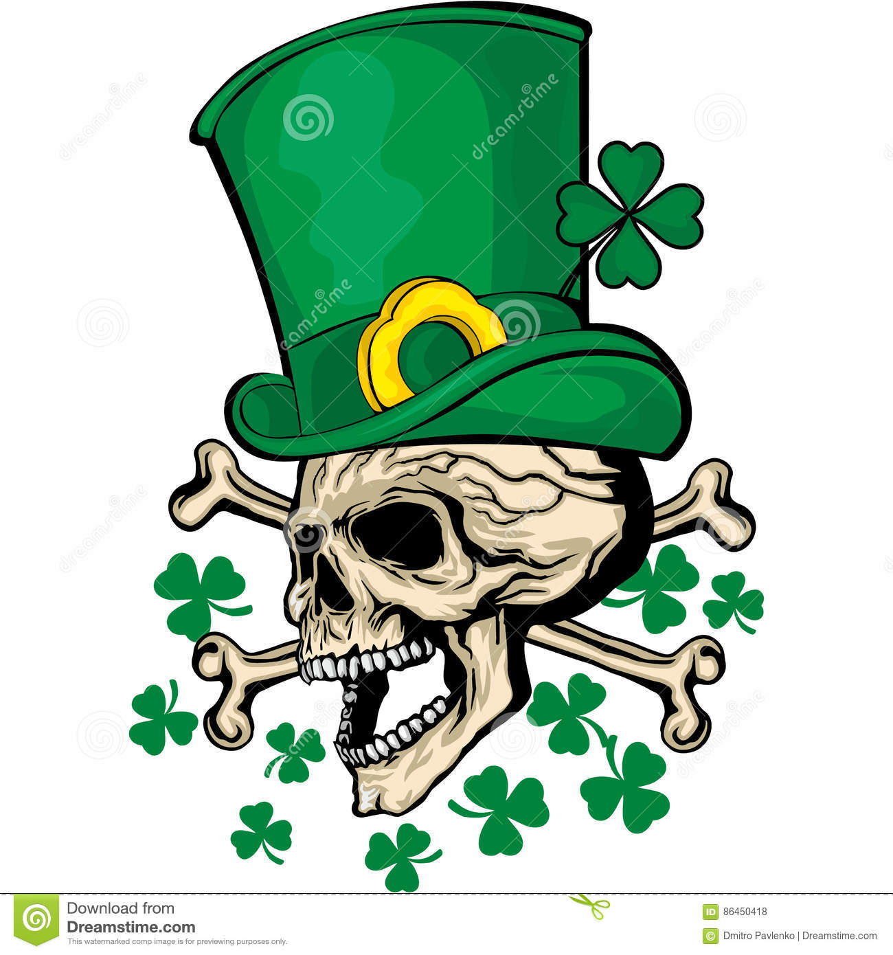 Irish coat of arms with skull and clover stock vector irish coat of arms with skull and clover dead hand buycottarizona Images
