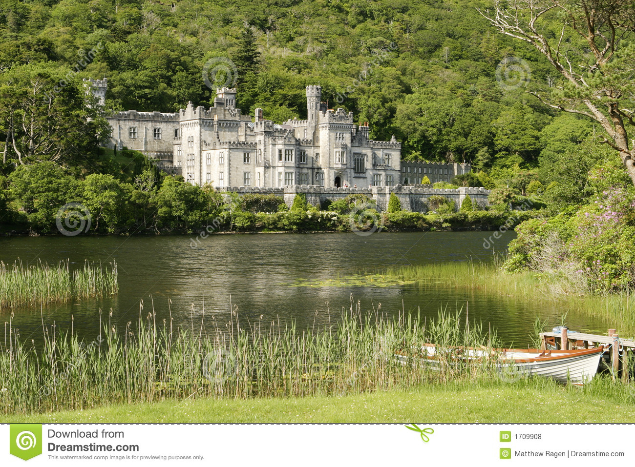 An Irish castle in the countryside. Located next to a lake, this was ...