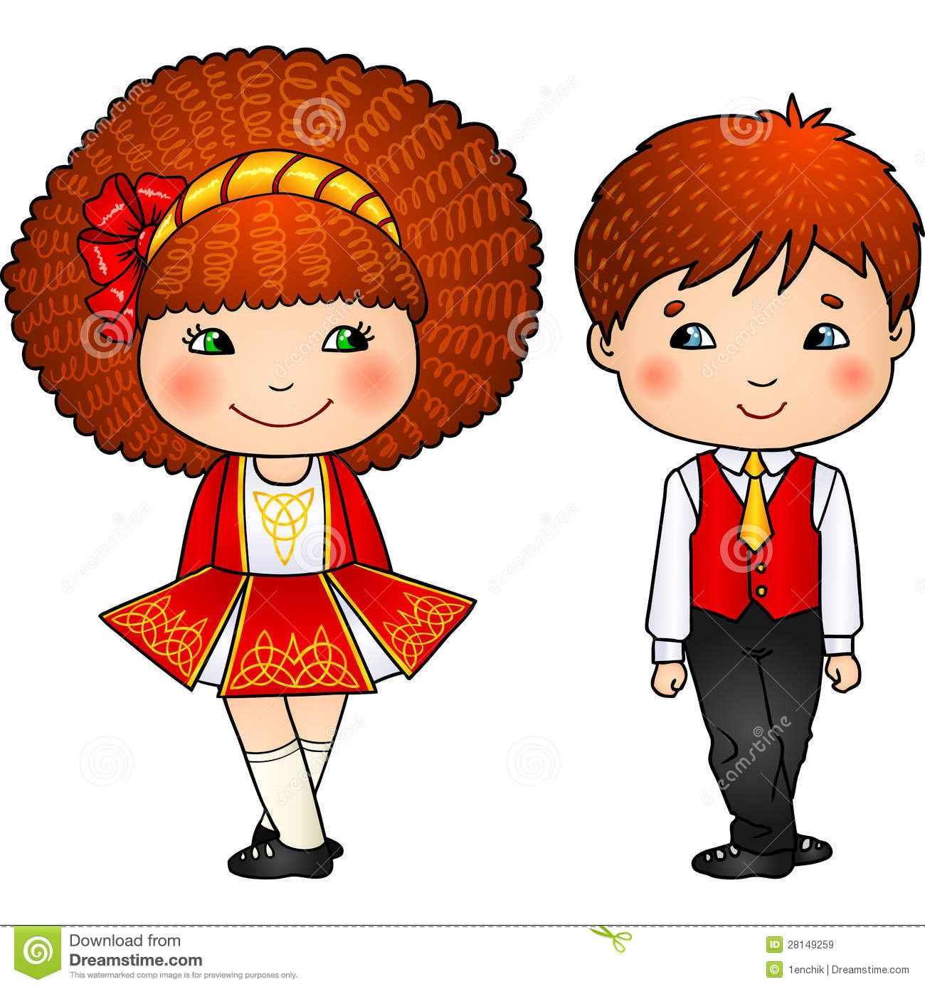 Irish Dancing Kids In Traditional Costumes Royalty Free