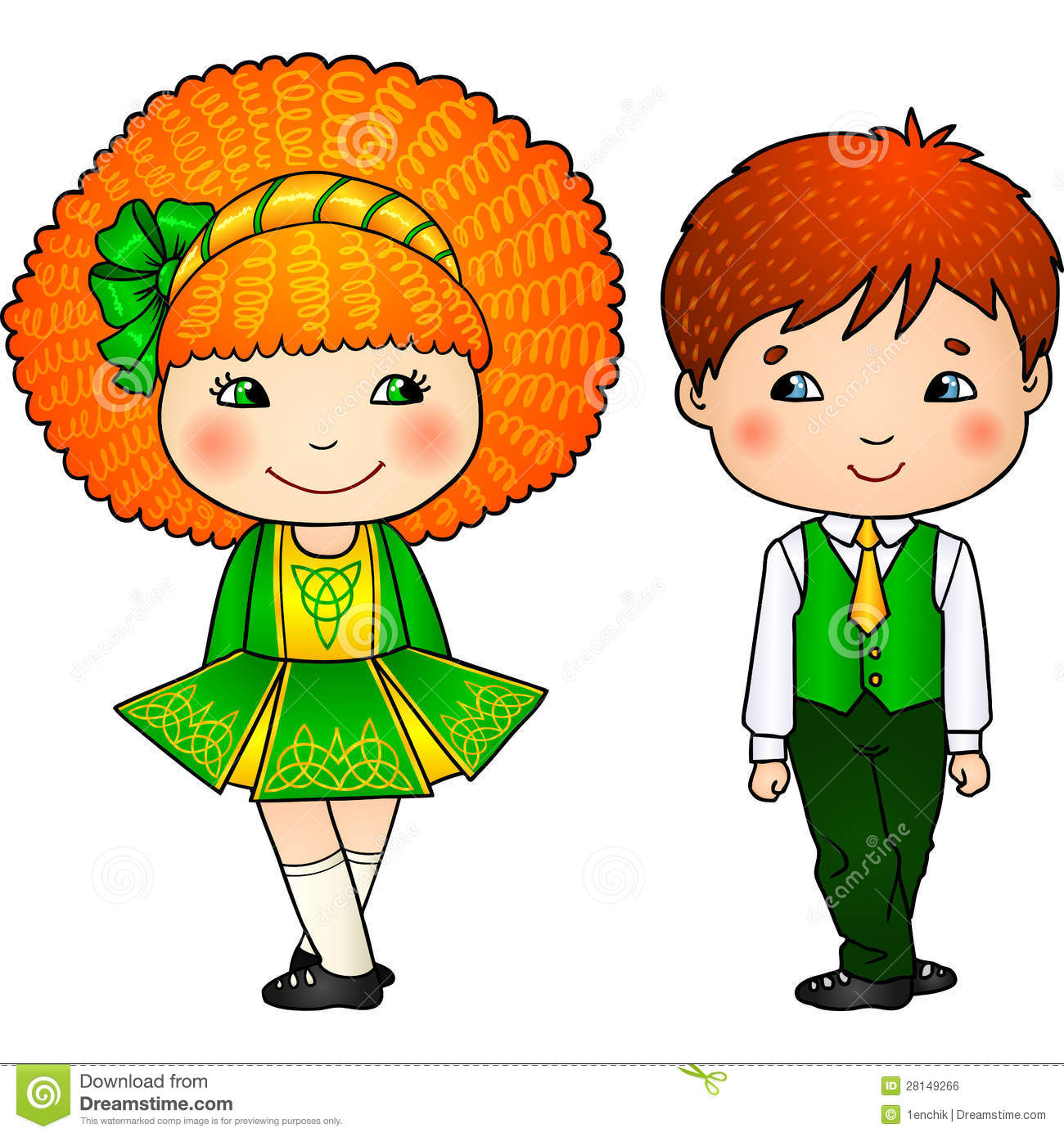Download comp  sc 1 st  Dreamstime.com & Irish Dancing Kids In Traditional Costumes Stock Vector ...