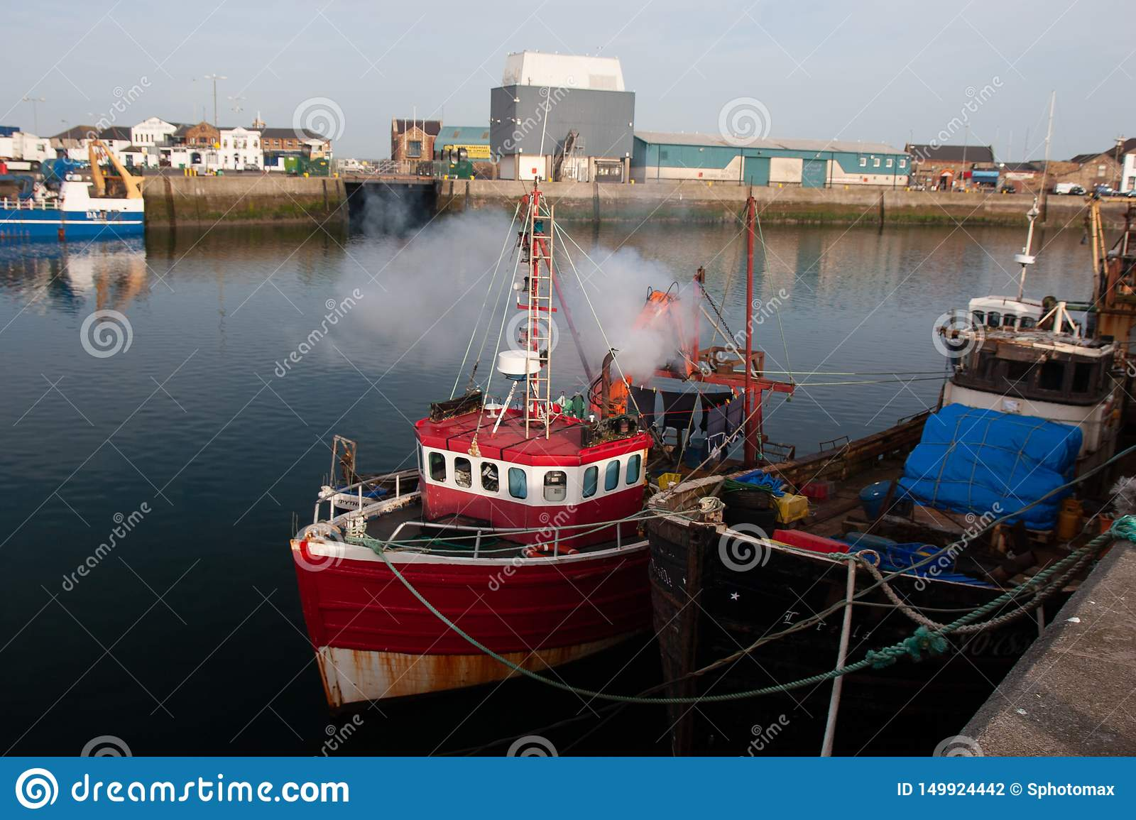 Irish fishing boats in Port of Howth, County Leinster Dublin Ireland.