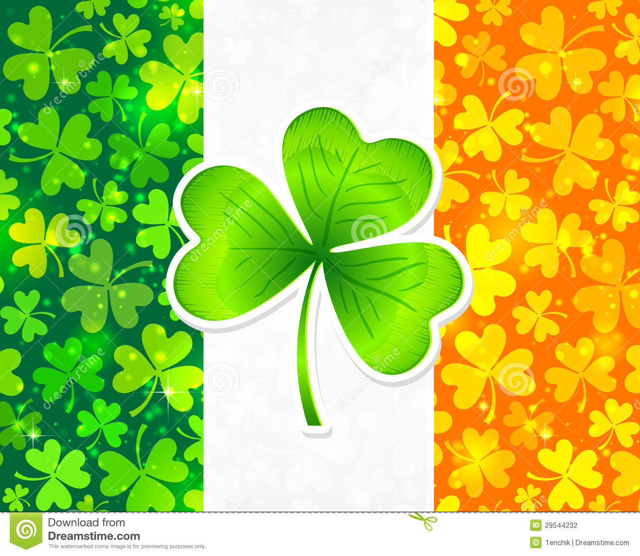 irish flag with green and orange clovers stock vector four leaf clover vector clipart four leaf clover vector image