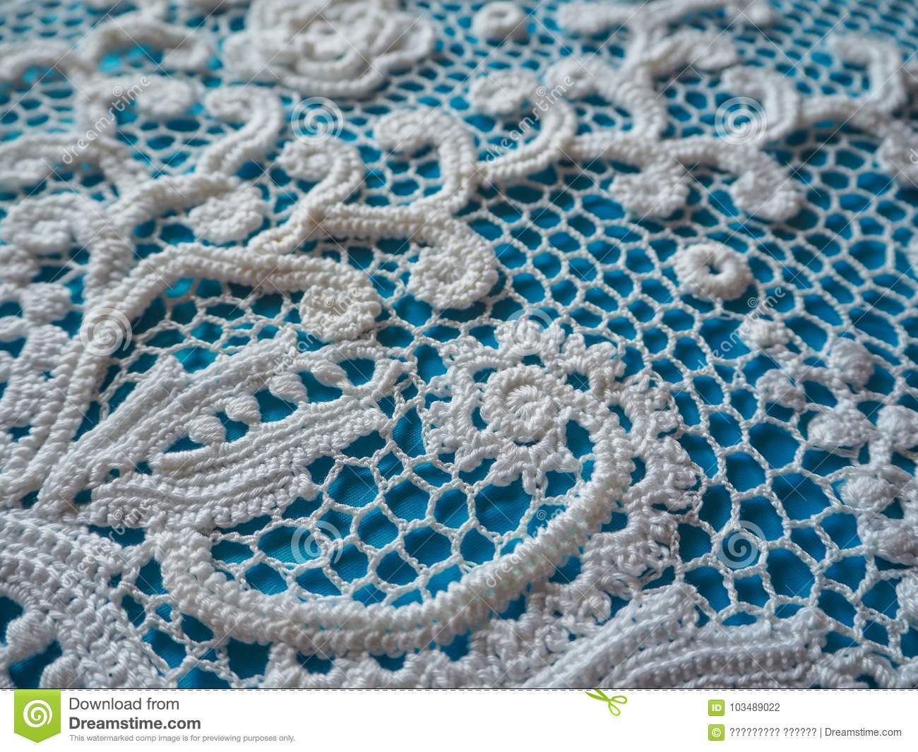 Irish Lace Crochet The Elements Of White Knitted Dress Stock Photo
