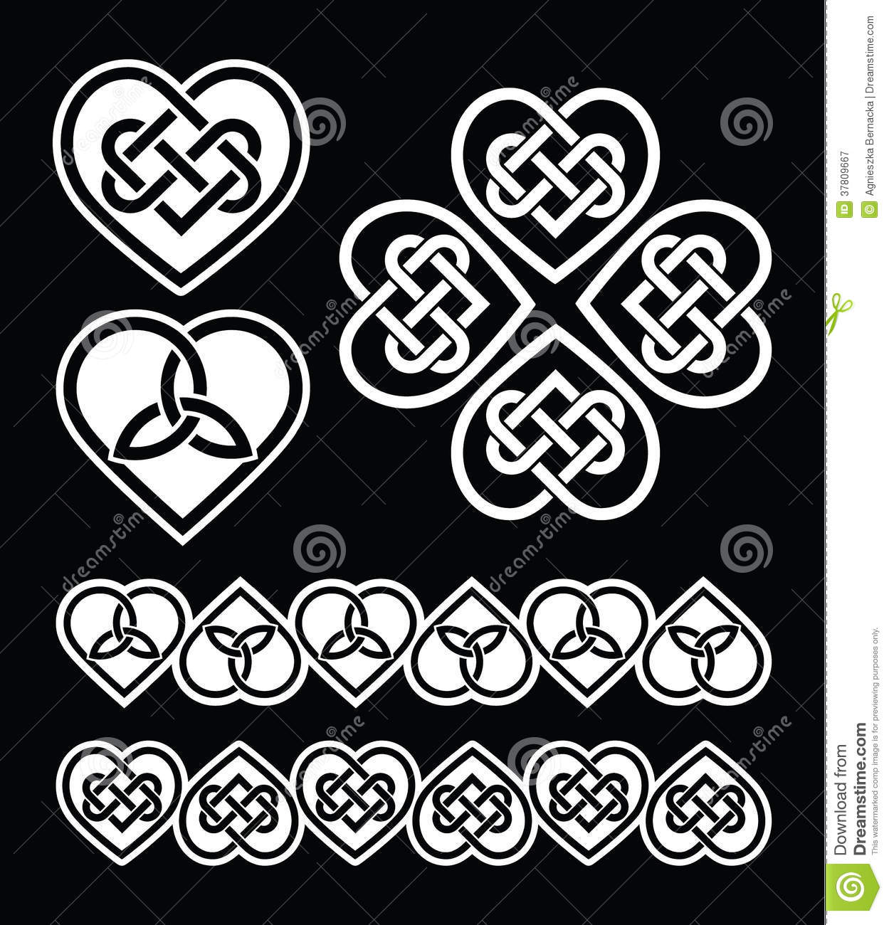 Irish Scottish Celtic Heart Pattern Stock Illustration