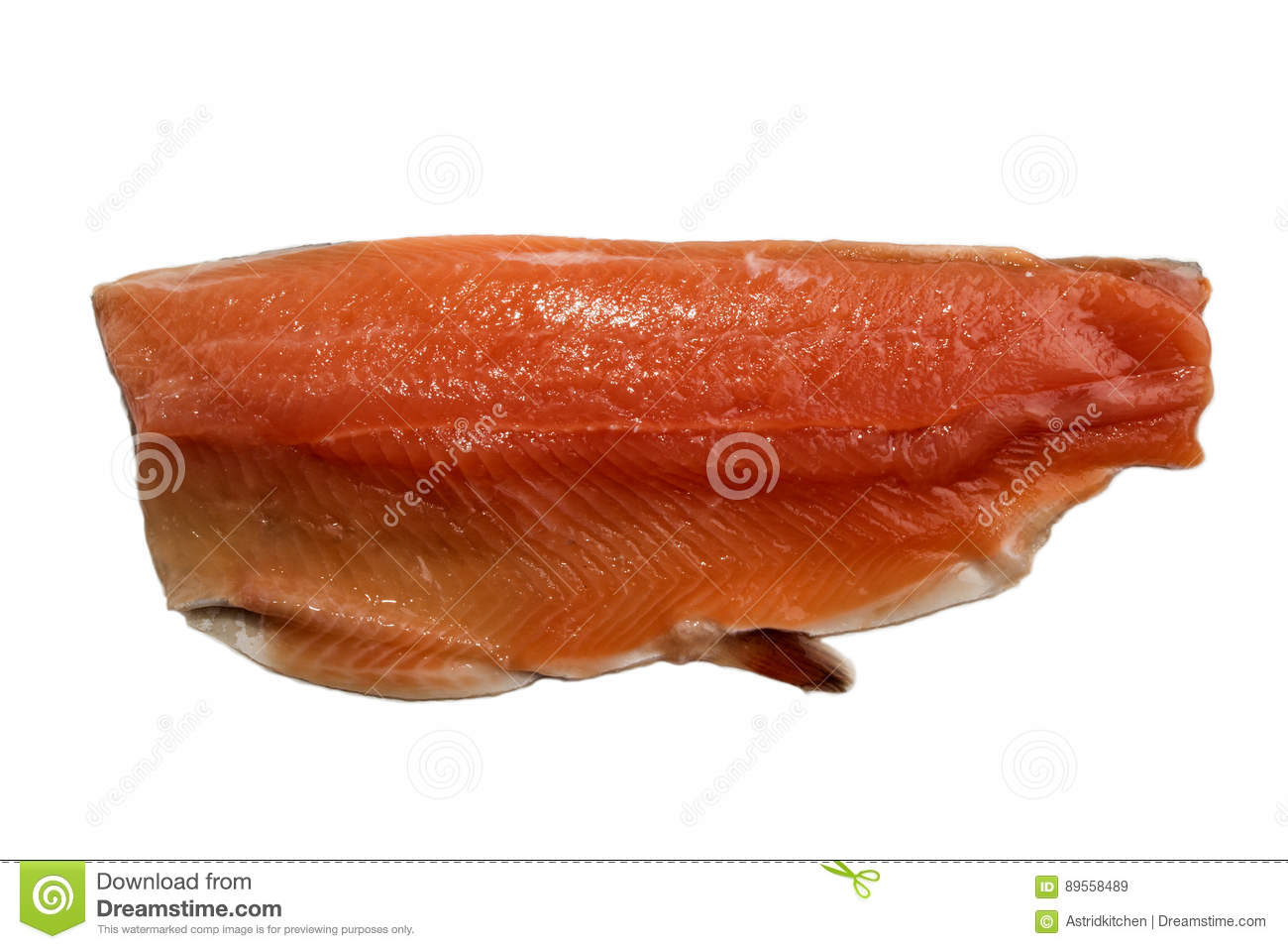 Irish sea trout fillet, isolated on white