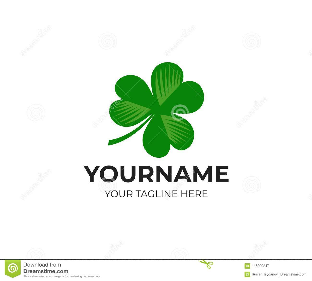 irish shamrock and clover logo template leaf leaves and flora