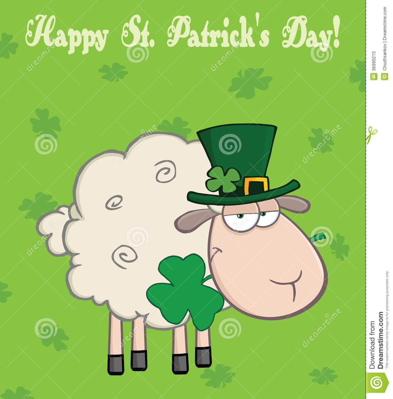 Irish Sheep Carrying A Clover In Its Mouth Under Text Happy St Patricks Day Stock Photos