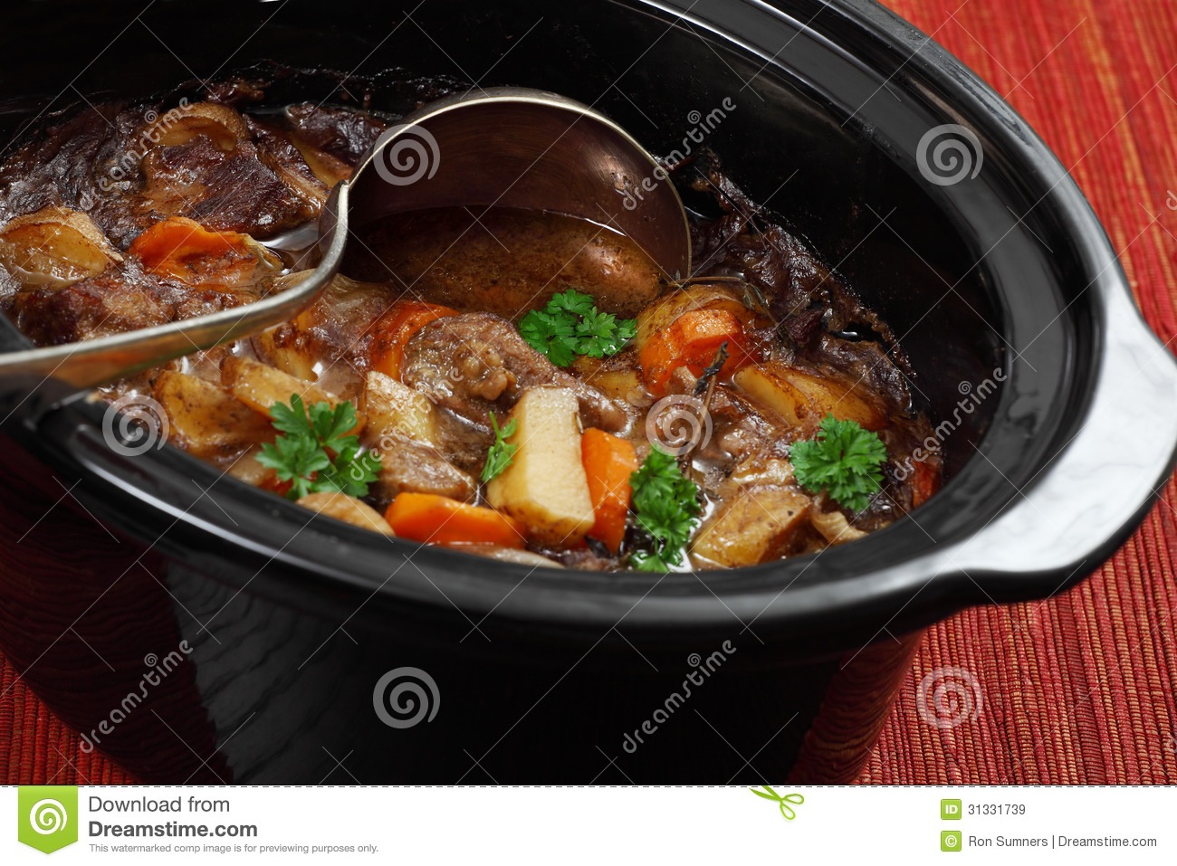 Photo of Irish Stew or Guinness Stew made in a crockpot or slow cooker